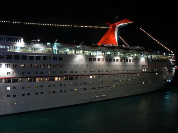 Nightime image of a cruise ship.