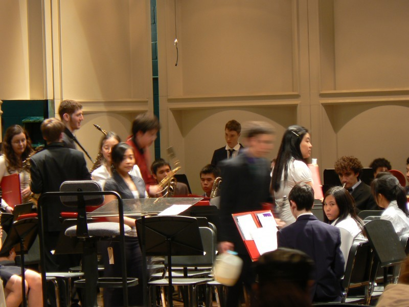 The ensemble's preparation for a concert.