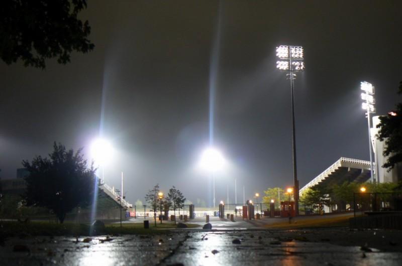 Stony Brook stadium lit by bright lights.
