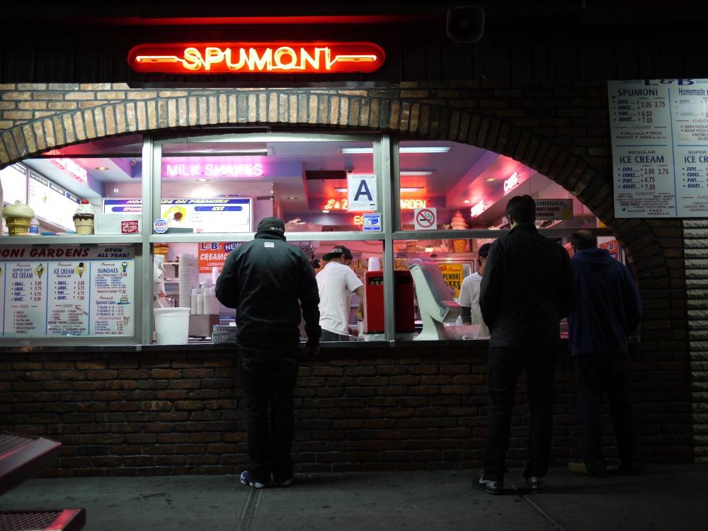 L&B Spumoni Garden at midnight on a Saturday.