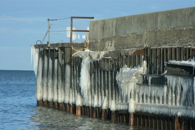 Ice on pier