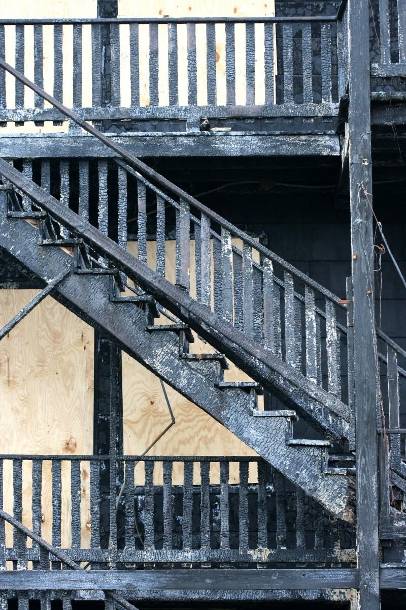Burnt stairway