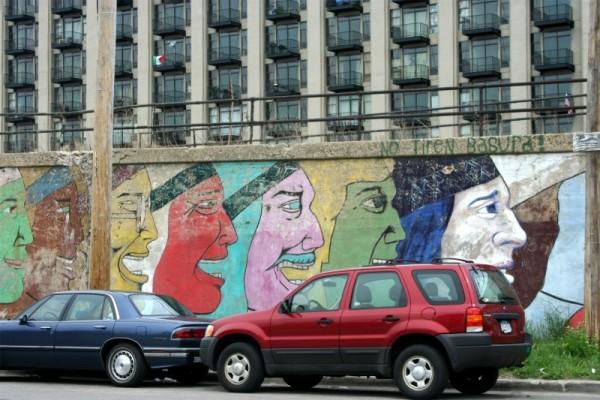 Mural in Spanish-speaking neighborhood