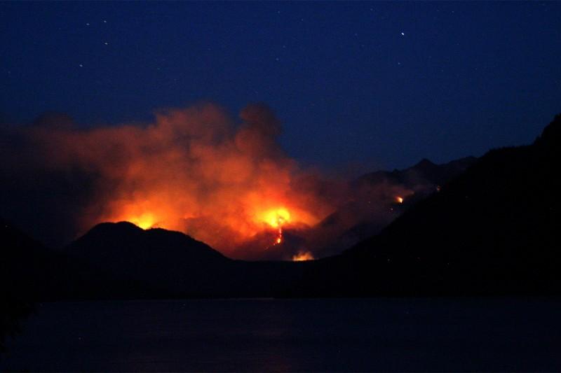 Domke Lake Fire at Night
