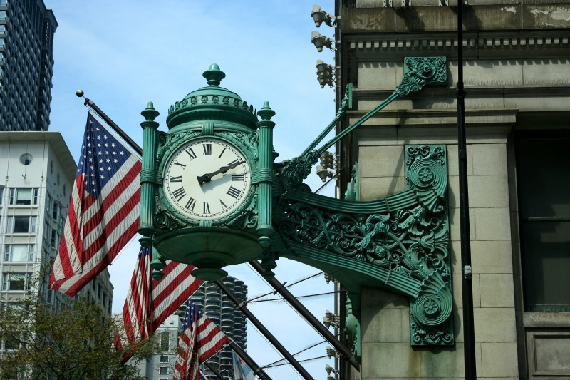 Clock and American Flags