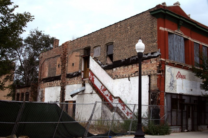 Remnants of stairway on demolished building