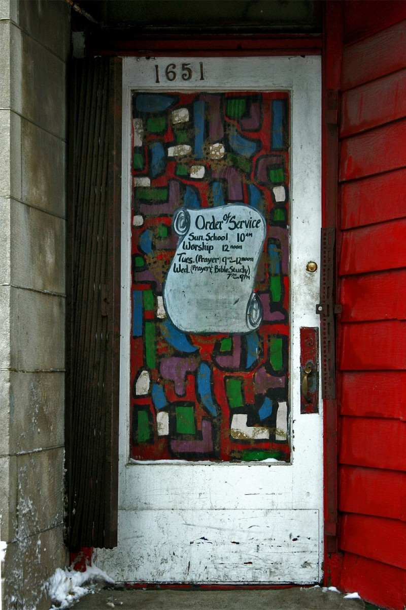 Painted Door of Storefront Church in Chicago