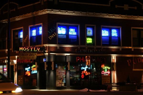 City Street Corner with Neon Lights