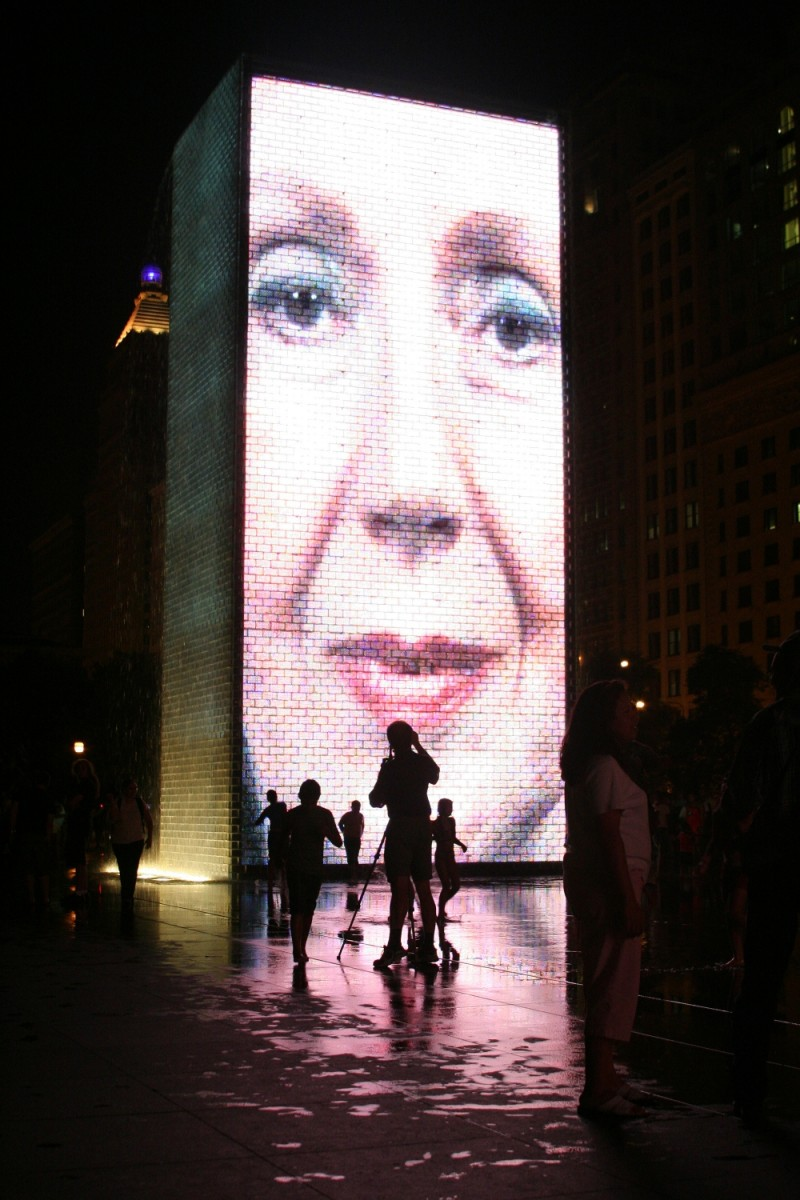 Crown Fountain at Night