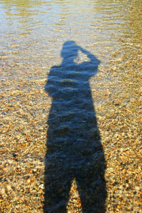 Self-portrait as shadow in Merced River