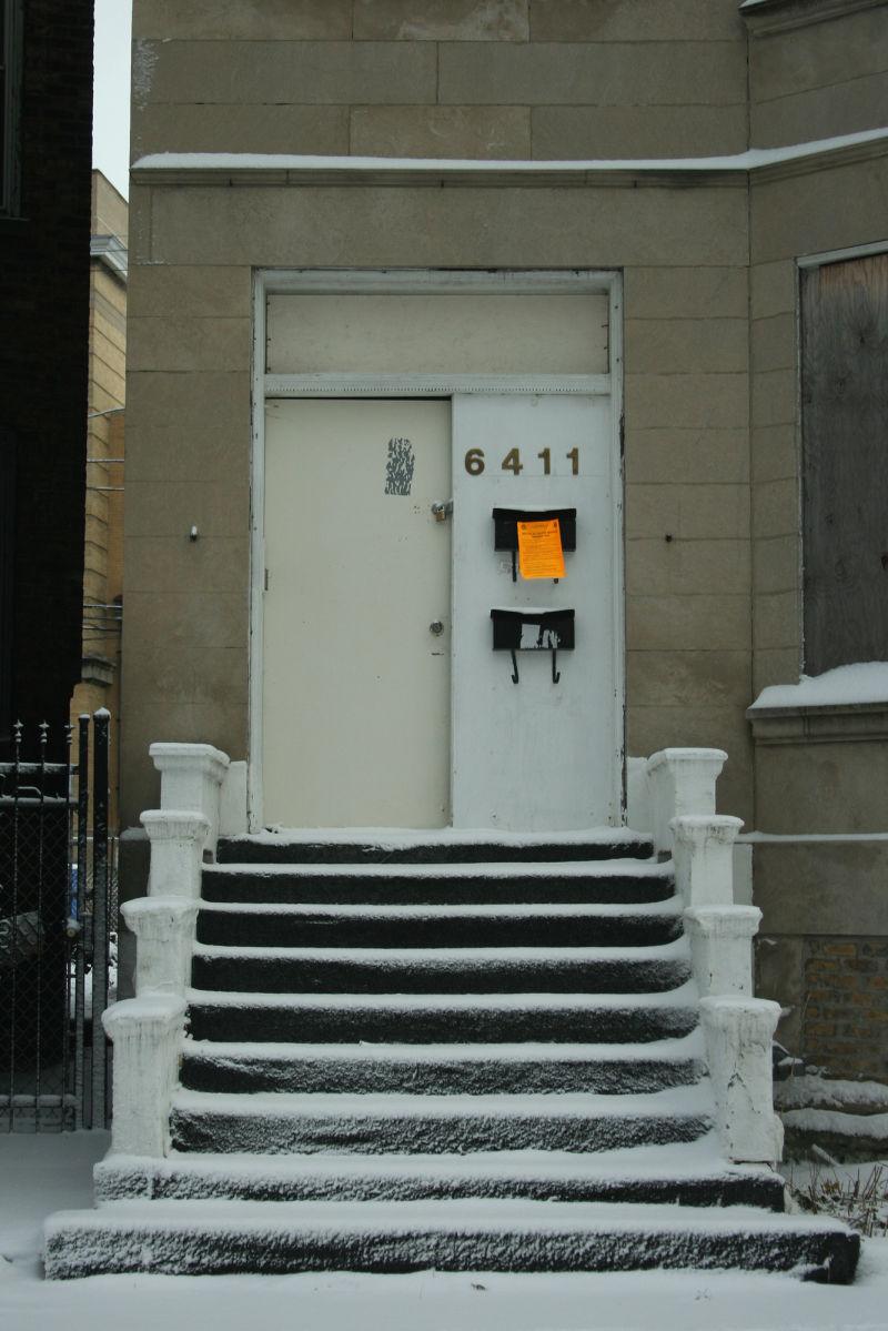 Door of old home in Chicago, Illinois