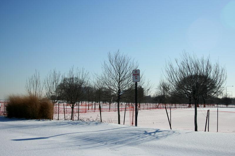 Snowy Parking Lot Near Lake Michigan