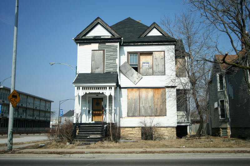 Boarded up frame house in Chicago, Illinois