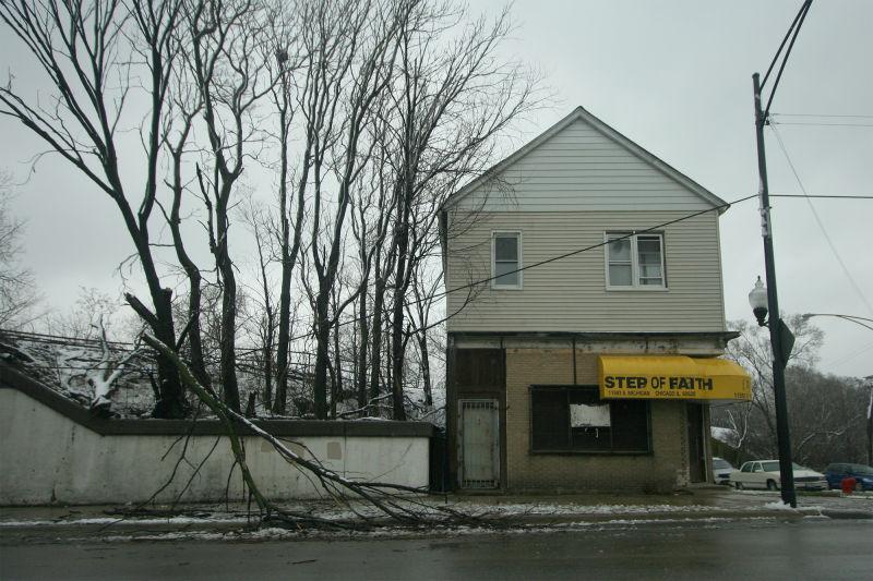 Down branch near small Chicago church