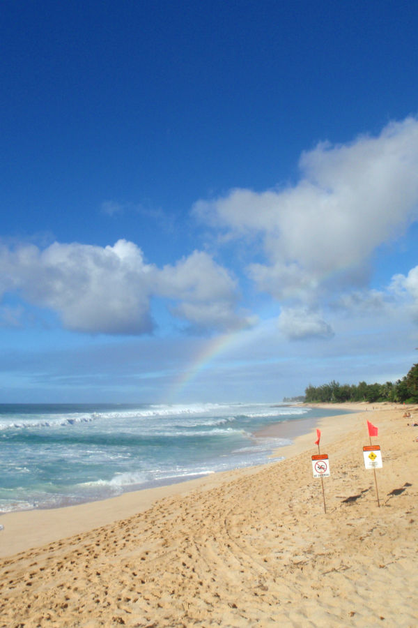 Rainbow at beach on North Shore of Oahu