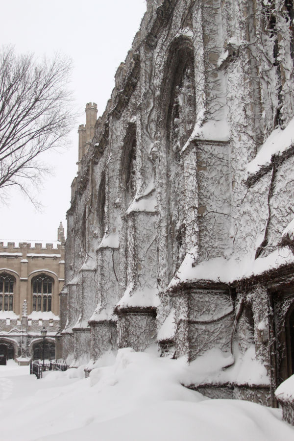 Snow encrusted building at University of Chicago