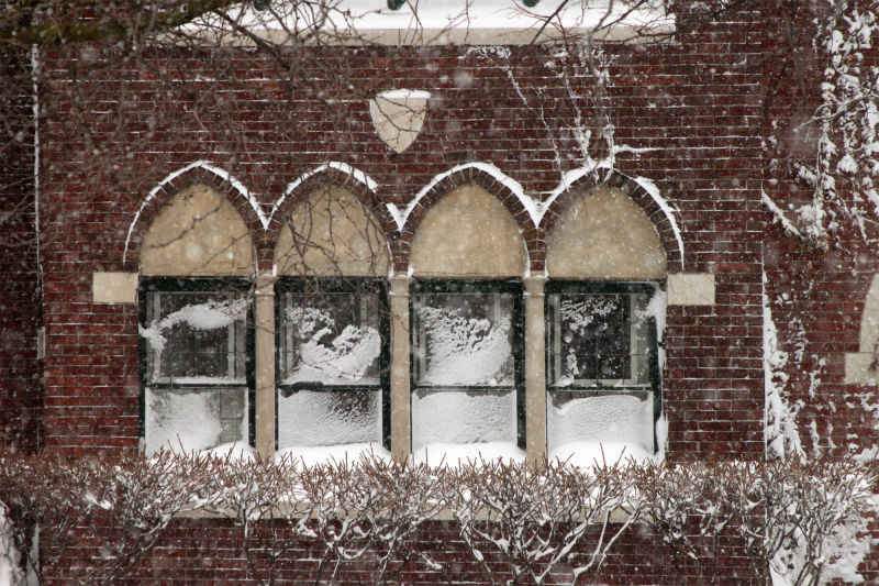 Snow covered windows after Chicago Blizzard
