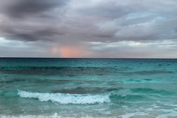 Rainbow over ocean in Bahamas