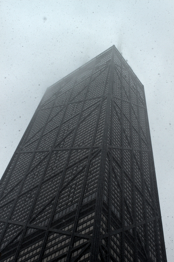 Snowy skies and skyscraper