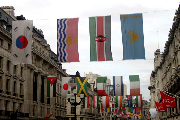 Olympic flags flying in London, England