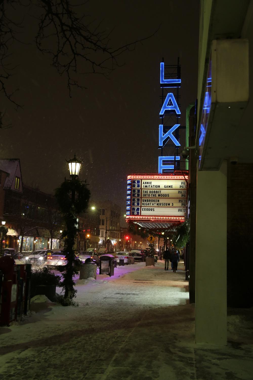 Snowy night in Oak Park by Lake Theater