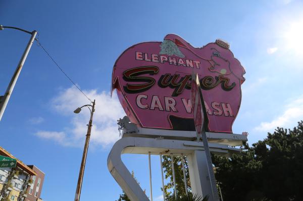 Elephant Car Wash sign seen in Seattle, Washington