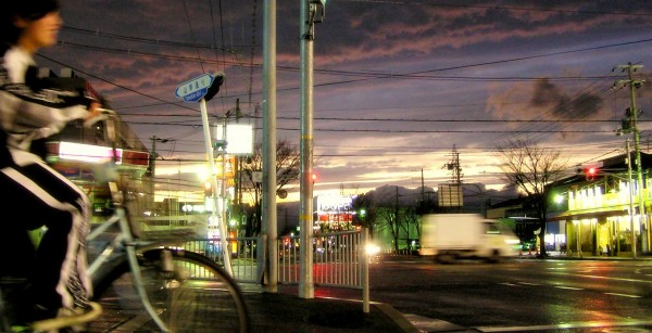 sonoda amagasaki japan street bicycle cloud sunset
