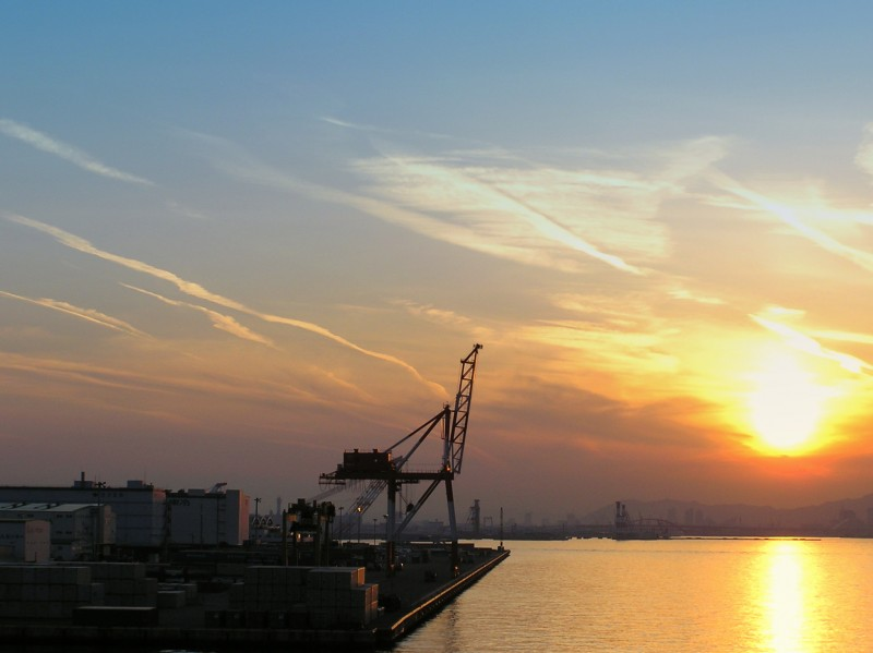 sunset island kobe port rokko hyogo japan derrick