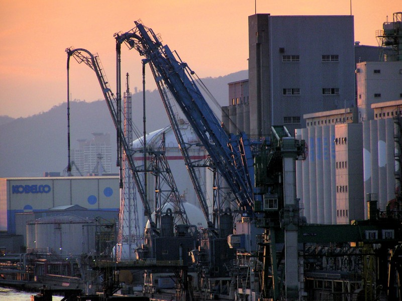 sunset island kobe port rokko hyogo japan derrick