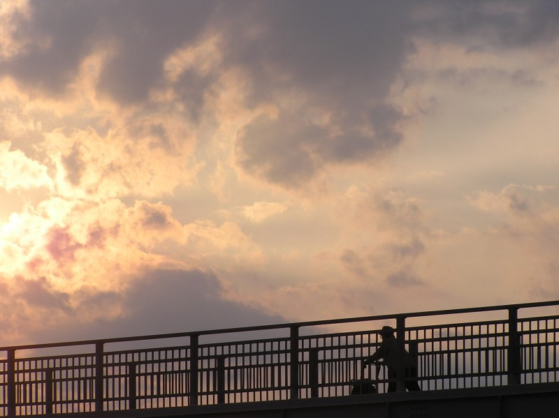 sunset sonoda amagasaki hyogo japan bridge