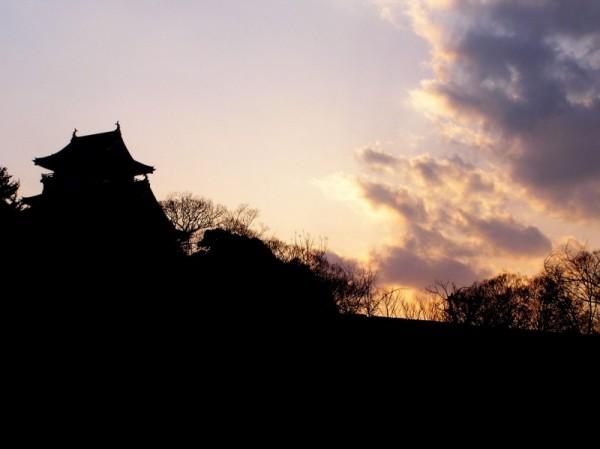 sunset Osaka castle Japan