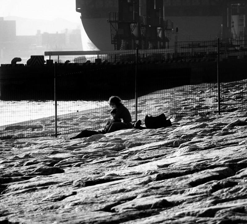 Rokko Kobe Docks waterfront couple