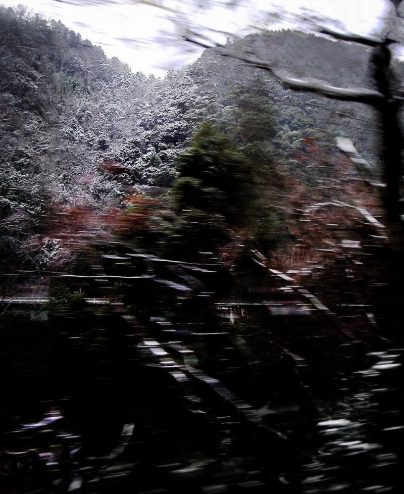 hill snow Japan train Shikoku railway Matsuyama