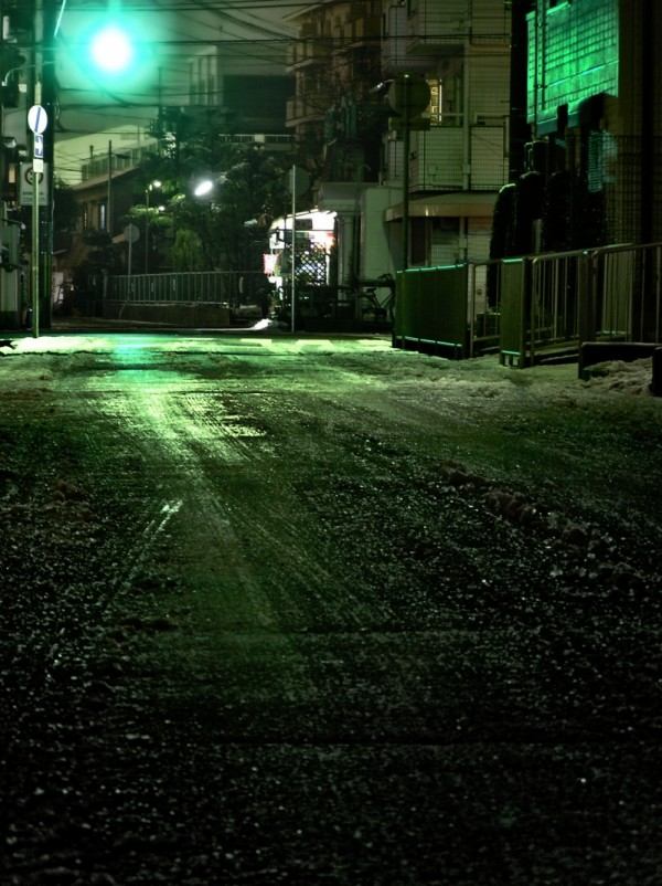 street light snow sonoda amagasaki japan