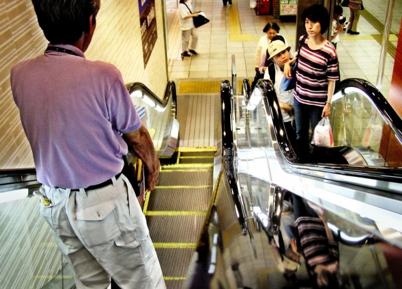 Okayama Station escalator shopping japan