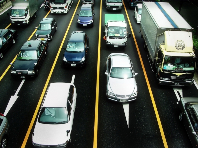 cars road overpass Kobe expressway