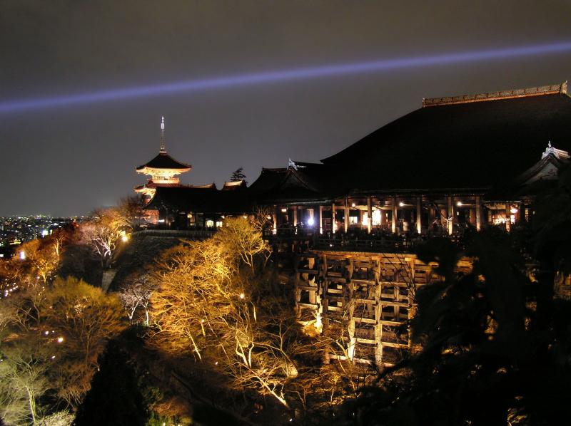 Kiyomizu-dera Japan night Kyoto light