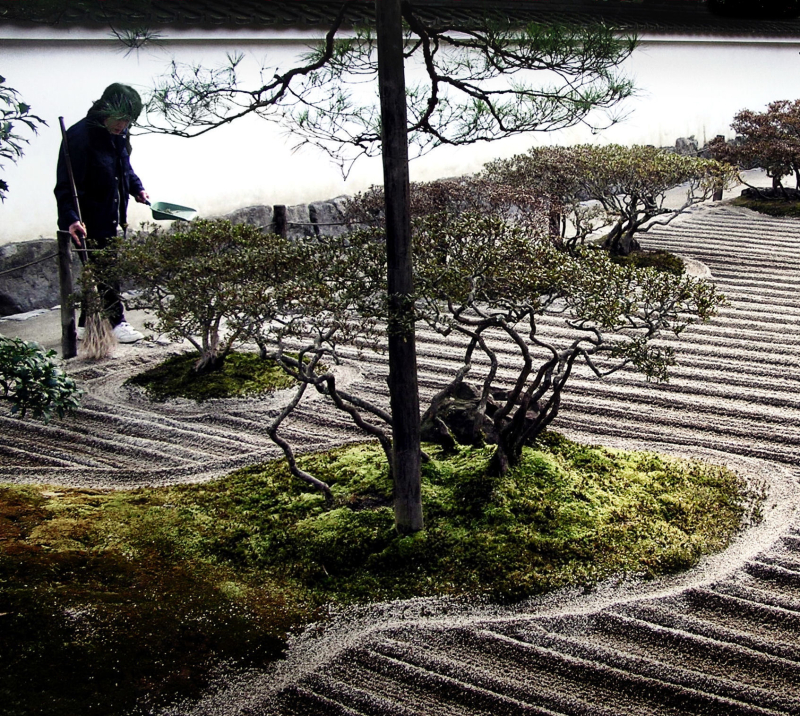 Tending garden, Ginkakuji Kyoto gravel