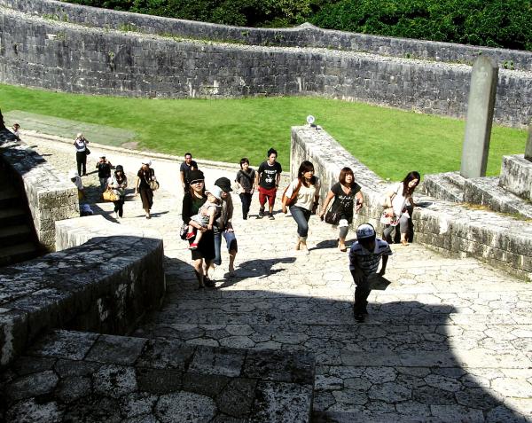 Shuri castle steps Naha Okinawa Japan