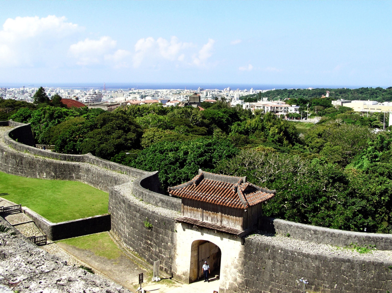 Shuri castle steps Naha Okinawa view sea city