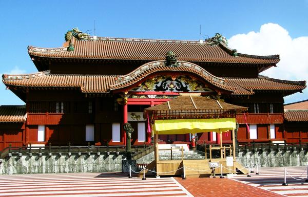 Shuri castle seiden main hall Naha Okinawa Japan