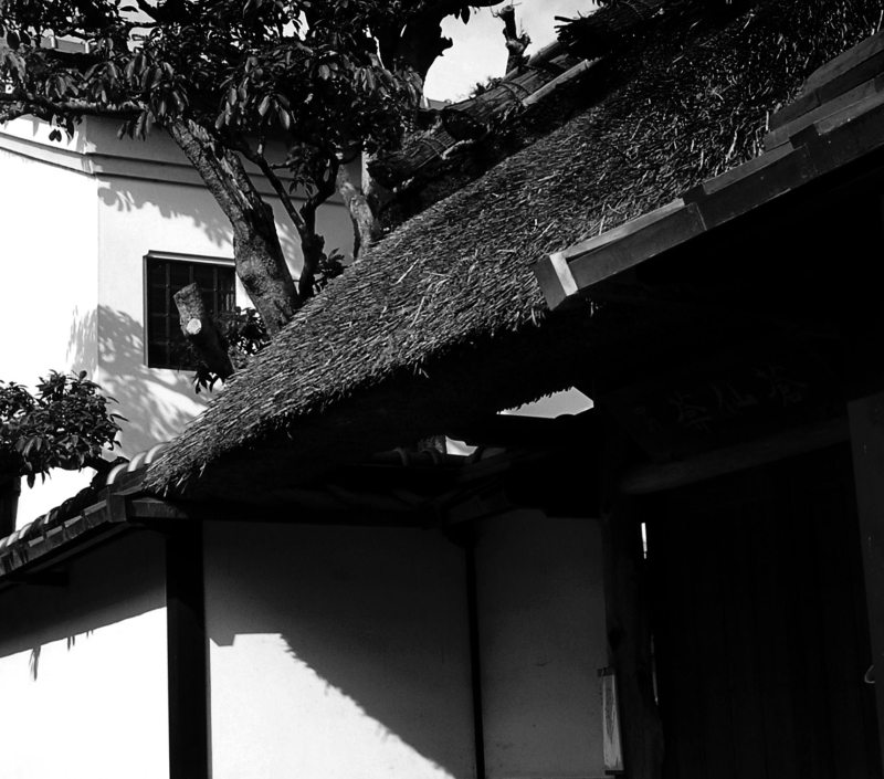Arashiyama Kyoto house thatch roof doorway Japan