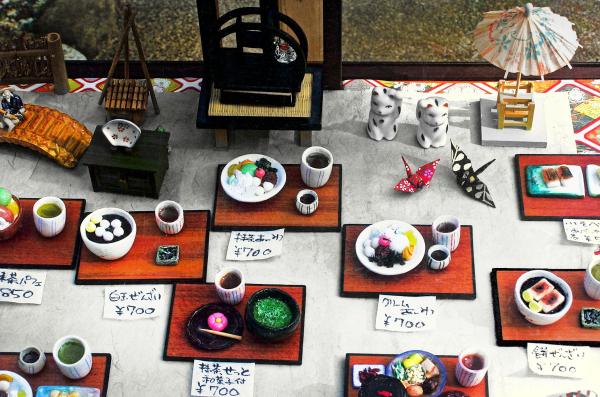 model menu tea shop Arashiyama, Kyoto Japan