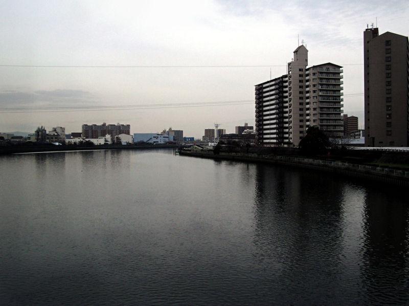 Kanzakigawa Osaka Japan river apartment