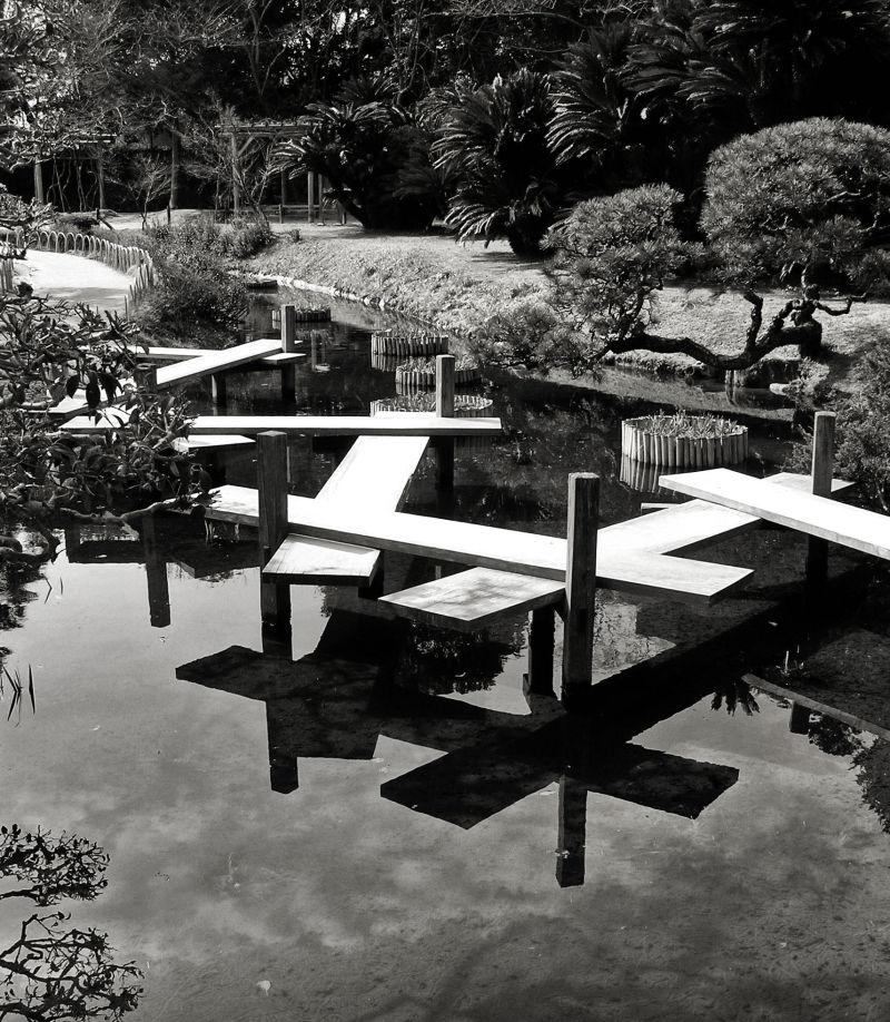 Okayama Japan Korakuen garden stream bridge