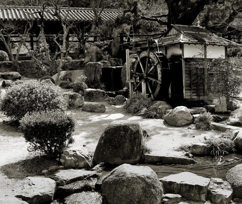 Kibitsu Shrine, Okayama Japan stream water-wheel