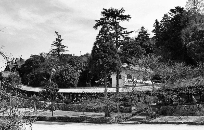 Kibitsu Shrine, Okayama Japan corridor garden