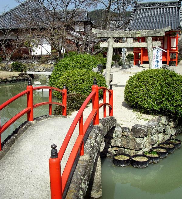 Kibitsu Shrine, Okayama Japan bridge torii pond