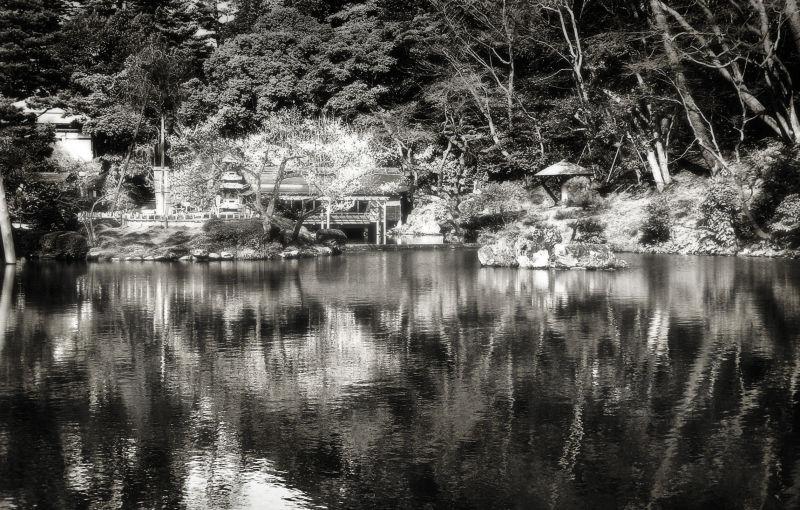 kenrokuen kanazawa garden pond japan reflection