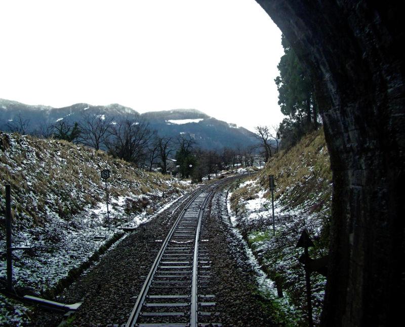 Toyama railway train snow Japan
